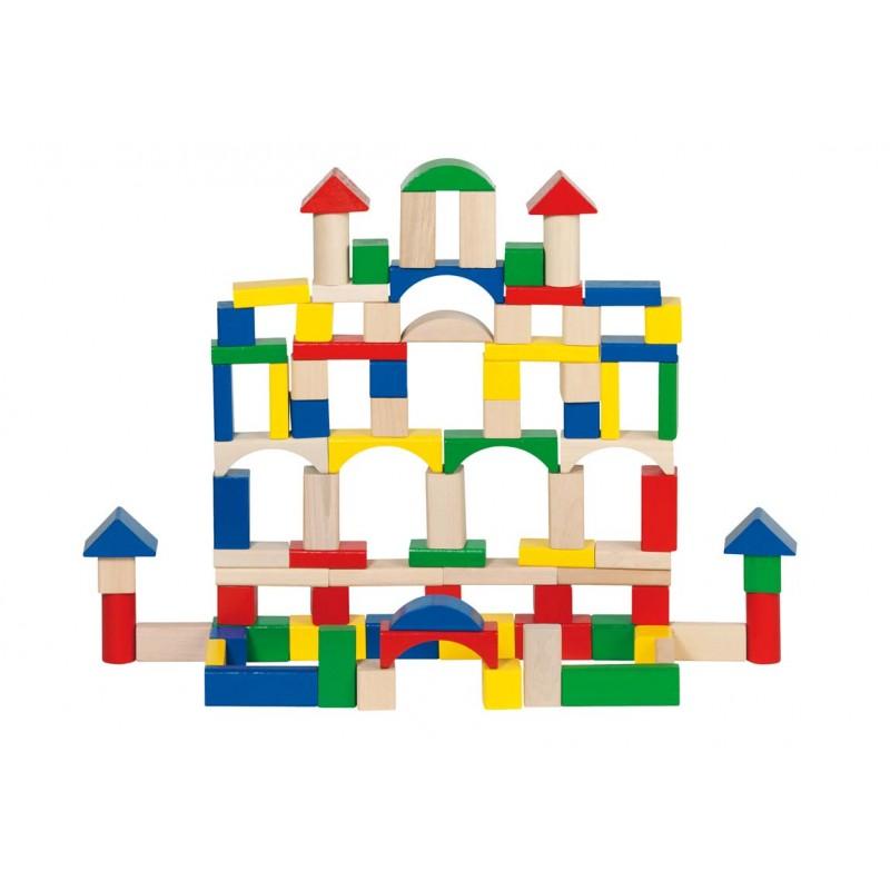 Fa építőkocka, 100 db-os