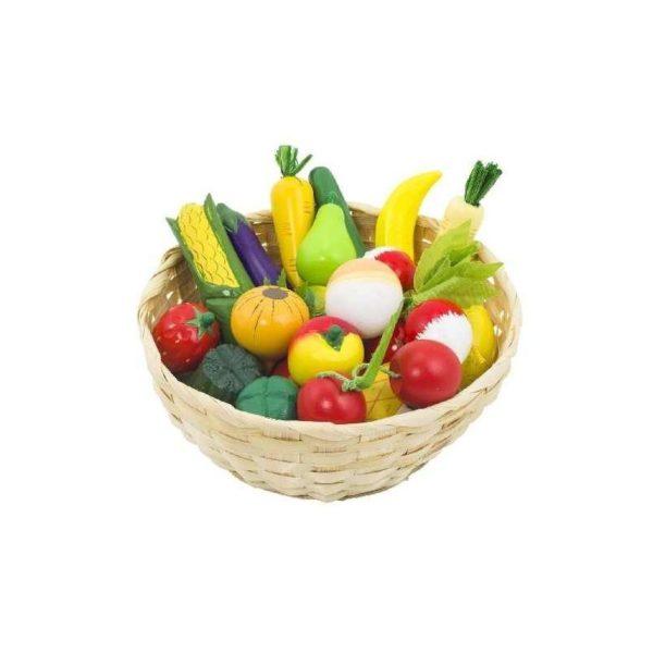 Fa zöldségek és gyümölcsök kosárban