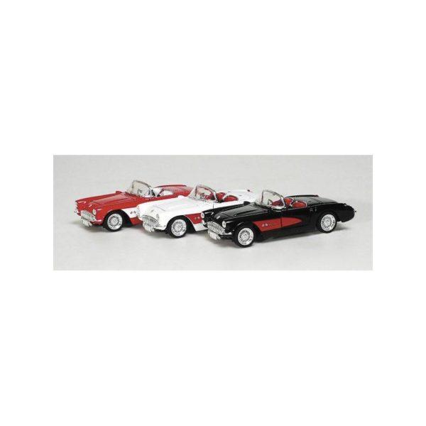 Fém modell autó - Chevrolet Corvette 1957, fehér