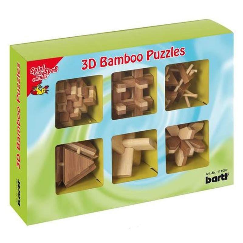 6 db bambusz puzzle, díszdobozban